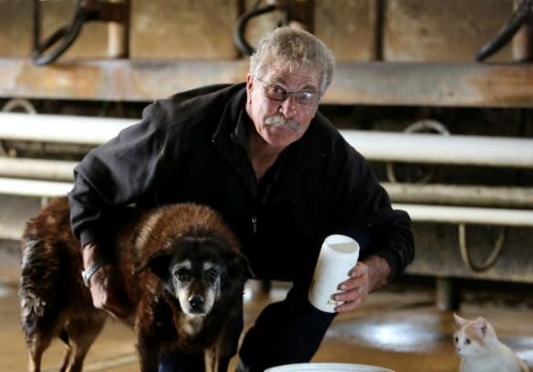 A cadela Maggie com seu dono Brian McLaren em Victoria, na Austrália